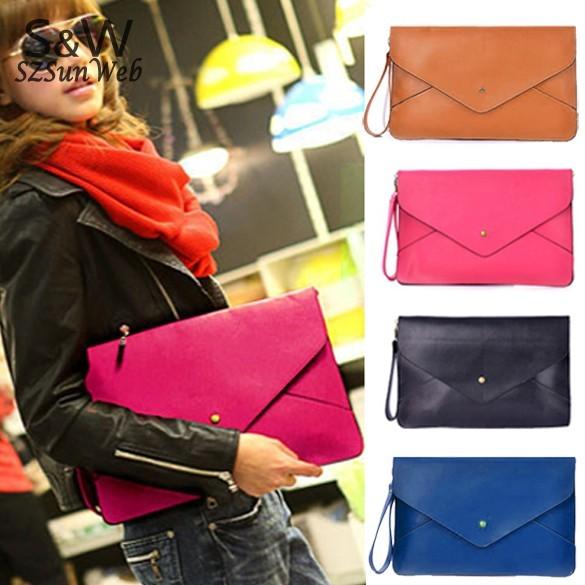 2013 Fashion Lady's Clutch Envelop Bag Messenger Handbag  4 Colour Blue, Red, Black ,Brown Free Shipping 10
