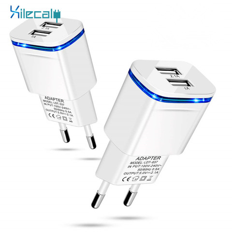 5V 2A EU Plug LED Light 2 USB Adapter Mobile Phone Wall Charger Device Micro Data Fast Charging For iPhone 5 6 iPad Samsung Pakistan