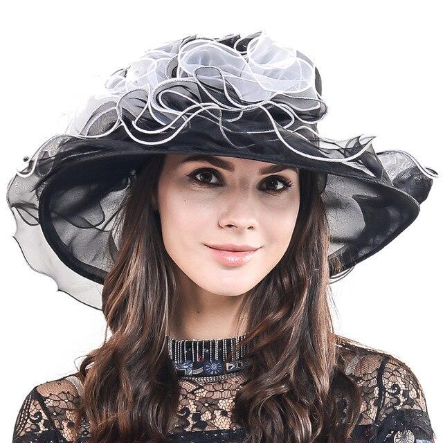 8faf4c4e8c3b73 HISSHE Damen Elegante Kirche Hochzeit Kleid Hut Frauen Organza Kentucky  Derby Große Breite Krempe Rüschen Hut