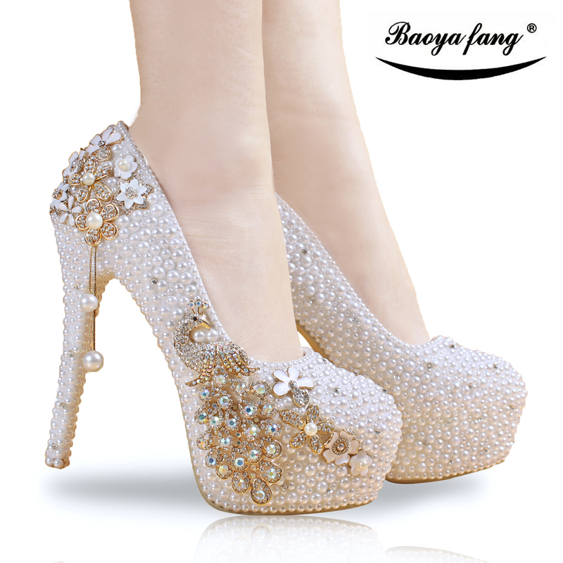 где купить  Crystal wedding shoes pearl handmade bridal shoes women's Pumps peacock rhinestone female high heels platform shoes big size  по лучшей цене