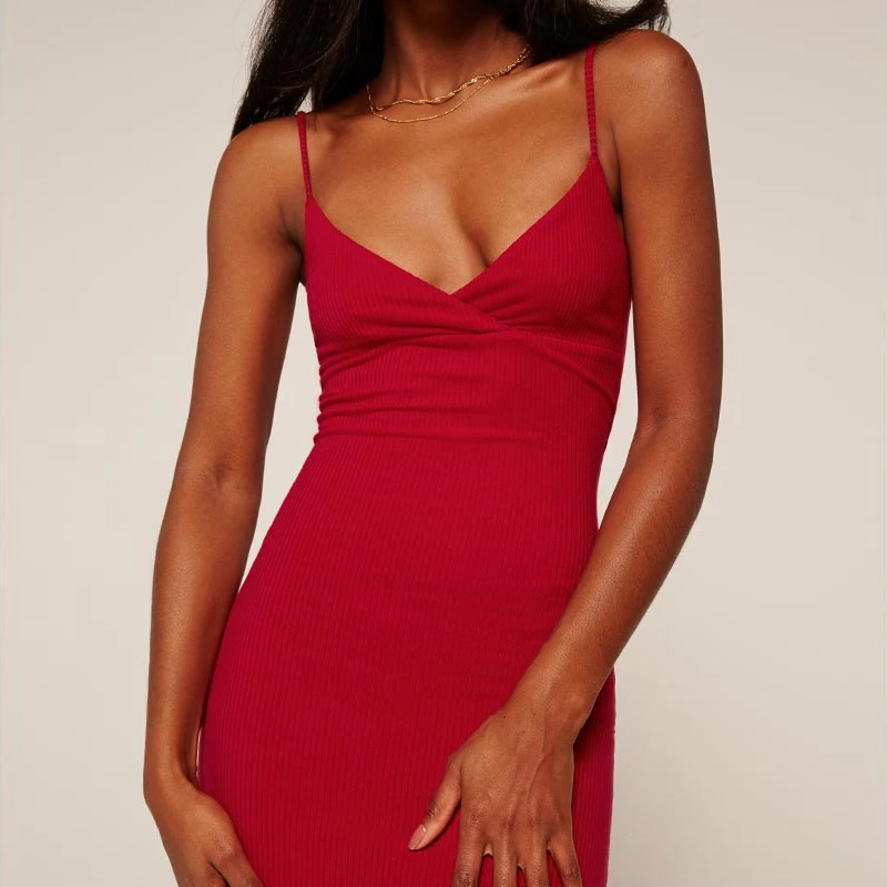 Women Sexy V Neck Cami Ribbed Dresses Spaghetti Straps Knee Length Dress with Open back Slim Dress