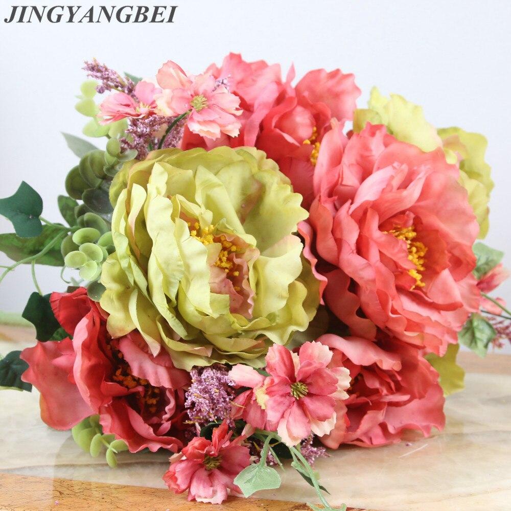 Rose Hydrangea Silk Flower Bouquet Artificial Wedding High Grade