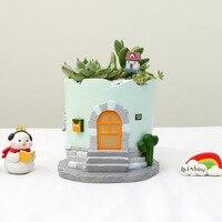 1pc Creative Happy House Resin Flowerpots Succulent Plants Pots Micro Landscape Flower Pot Home Garden Decoration