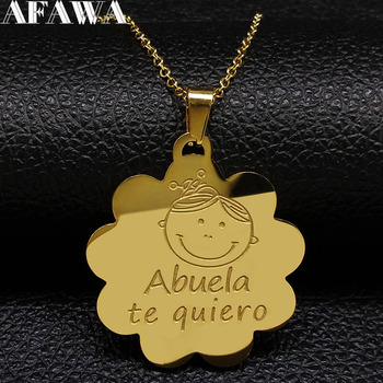 Grandma Stainless Steel Necklace Gold Color te quero Abuela Necklaces for Women Granddaughter Family Birthday Gift Jewelry N1828 image