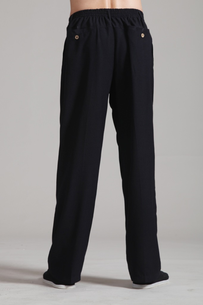 Black New Spring Chinese Men's Linen Kung Fu Pants With Pocket Size S M L XL XXL XXXL Free Shipping 2352-3