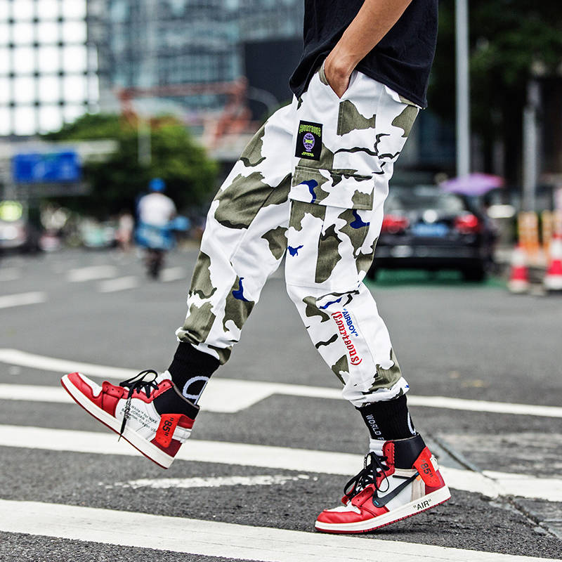 Man Jogger Camouflage Pants Loose Mens Sweatpants Fashion High Street Cargo Pants Streetwear Casual Pants Harajuku Hip Hop Pants(China)