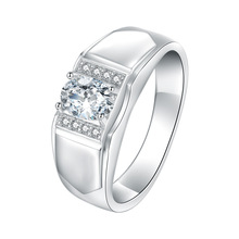 Simulated Moissanite Mens Rings Silver-plated Engagement 1ct Carat Luxurious Male Wedding Jewelry