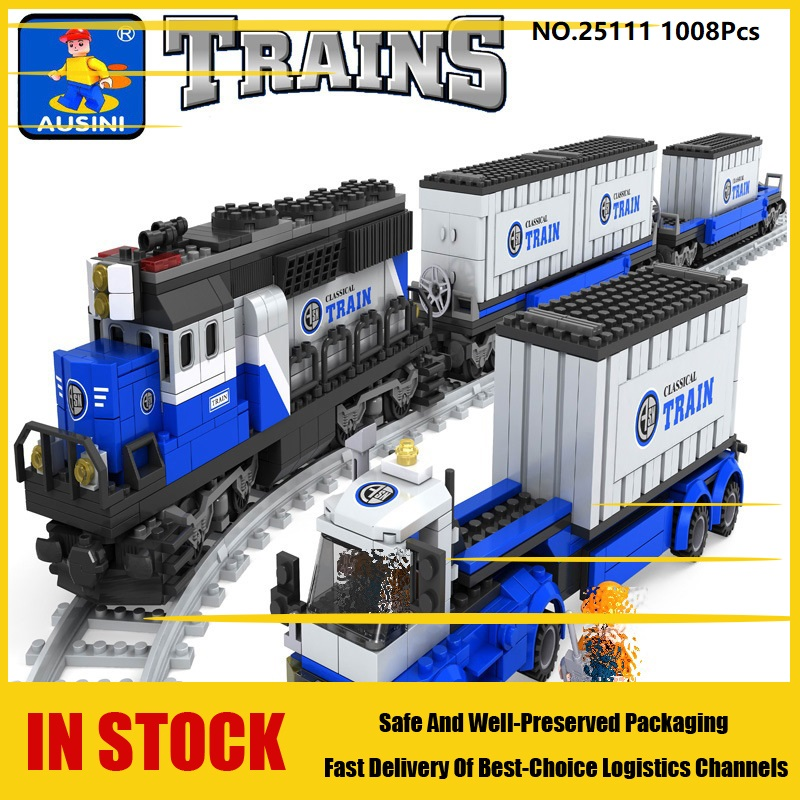 US $57 85 |Ausini 25111 1008Pcs city technic train 3D model building blocks  hobbies Educational toys for Kids gifts Compatible with Lego-in Blocks