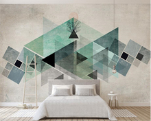 beibehang Custom 3d wallpaper mural Nordic minimalism retro geometric triangle color TV background wall behang