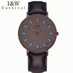 Карнавал Элитный бренд T25 светящиеся тритиевые кварцевые женские часы модные повседневные часы в Военном Стиле, мужские часы с кожаным реме...