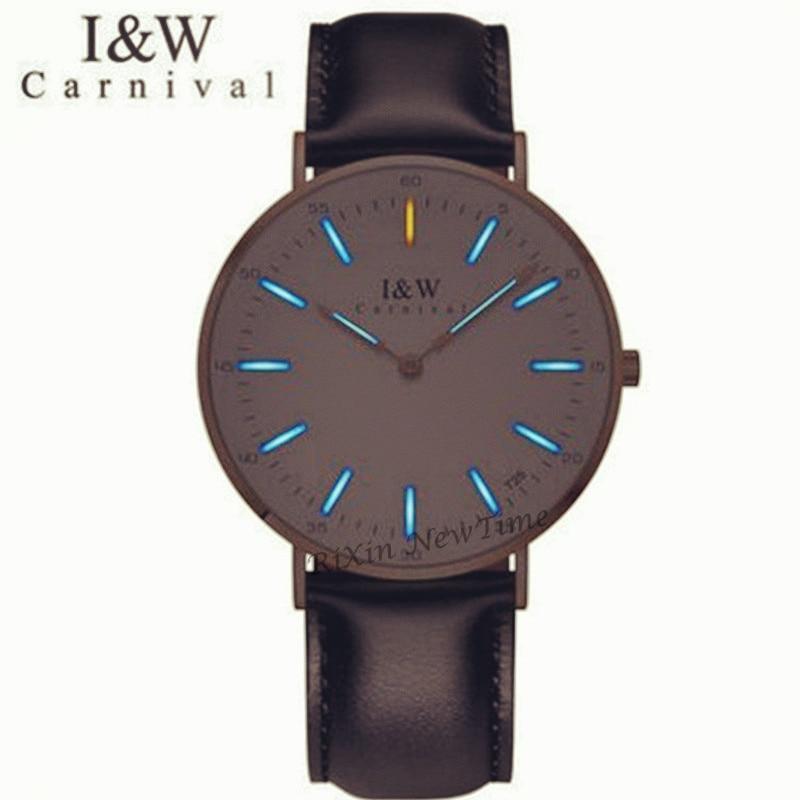 Carnival Luxury Brand T25 Tritium Luminous Quartz women Watches Fashion casual military watch men leather strap erkek kol saati