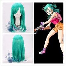 Аниме Dragonball косплей парик Bulma прямые зеленые синтетические волосы для взрослых