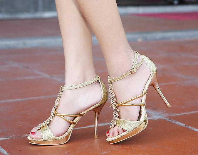 Gold Color High Heels - Red Heels Vip