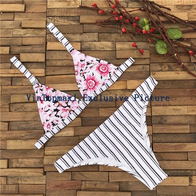Цветочные Бикини женщин Пляж 2017 Brazilian Bikinis Set Secret Купальщица Короткий Топ в Полоску Купальники Женский Купальник майо де bain