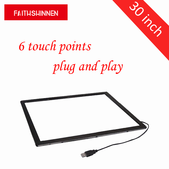 все цены на 30 inch touch screen frame 6 touch points IR infrared touch screen frame plug and play touch screen overlay without glass онлайн