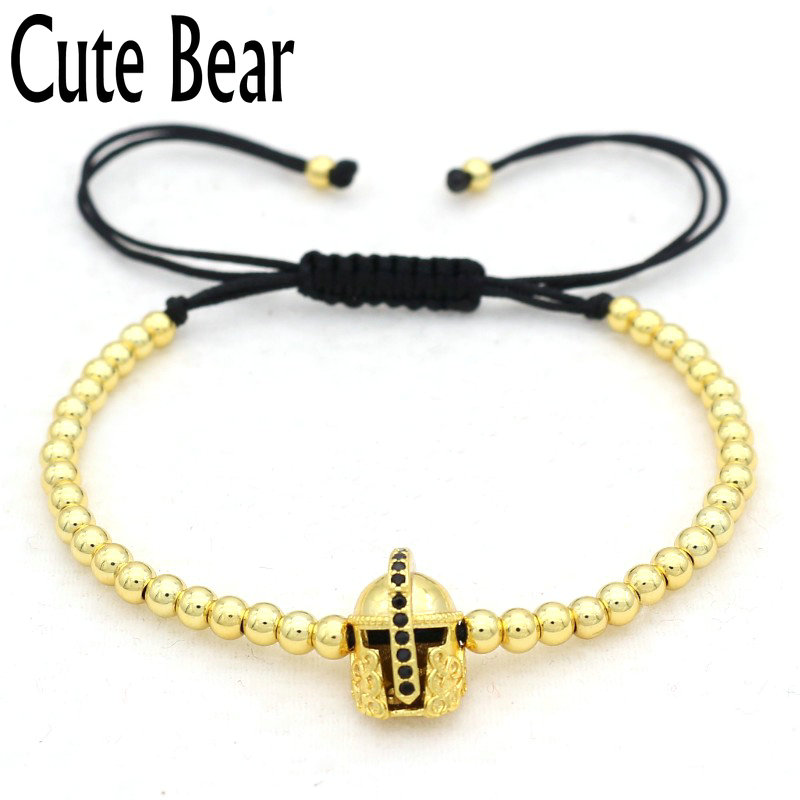 Cute Bear Brand Micro Pave CZ Spartan Warrior Helmet Men Bracelet Fashion 4mm Circular Copper Beads Bracelet Men Charm Jewelry