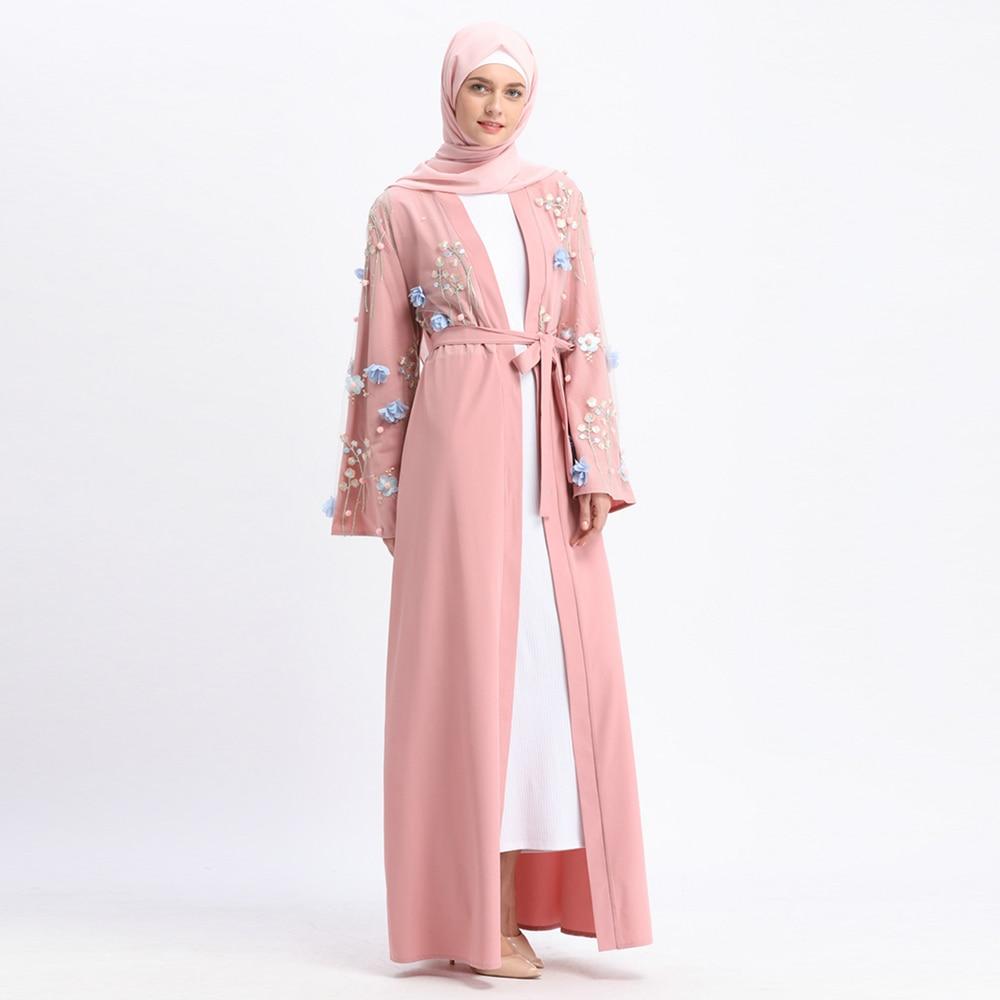Muslim Embroidery Abaya 3D Floral Maxi Dress Cardigan Long Robes Tunic Kimono Ramadan Turkey Islamic Clothing Worship Service портал сайт