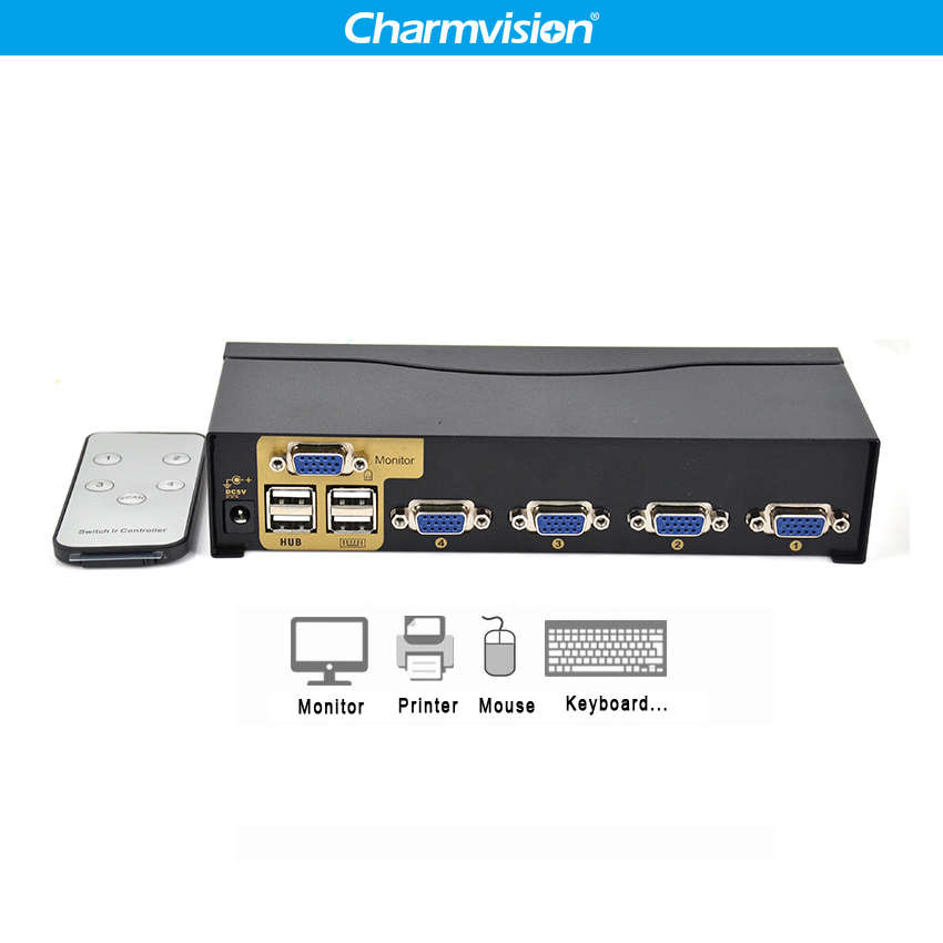 Charmvision UK401R 4 Ports PC Hosts USB HUB KVM Switch Multi Computer USB2.0 HUB KVM Switcher With Remote Control Keyboard Mouse