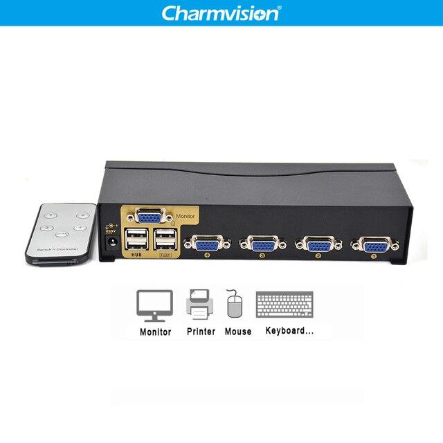 Charmvision UK401R 4 Ports PC hosts USB HUB KVM Switch Multi Computer USB2.0 HUB KVM Switcher with remote control Keyboard Mouse