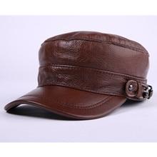 цены Autumn Winter Men's Cap Thicken Leather Warm Baseball Caps Flat Top Hats Adjustable Head Size Dad Hat Snapback Bone Tongue Cap