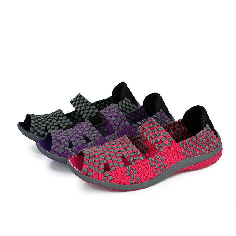 EOFK Wanita Sandal Handmade Woven Flat Sepatu Wanita Musim Panas Fashion Bernapas Kasual Slip-On Warna-warni Wanita Sepatu