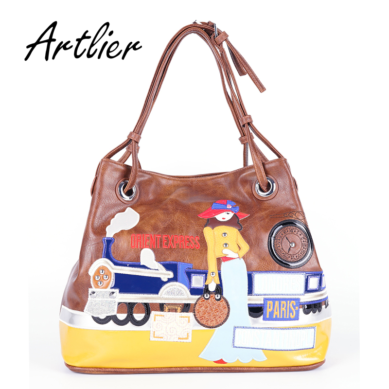 0f05d5b676e5 Women Casual Tote Bag Large Capacity Cartoon Embroidery Handbags Pu Leather  Fashion Shoulder Bags Black Brown Top handle Bag -in Top-Handle Bags from  ...