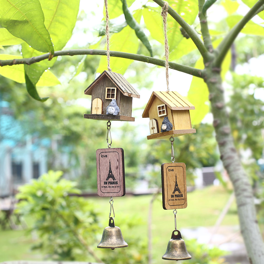 Buy japanese totoro wooden house landscape garden outdoor decor wind chime bell - Garden decor stores ...