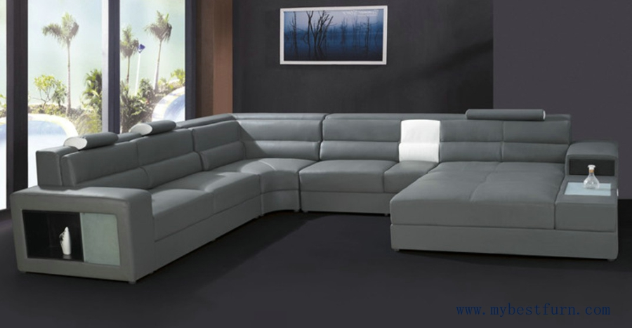 U Shaped Leather Sofa Italian Sectional Or