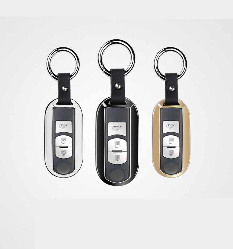 Araba anahtarı kapağı çinko alaşım + deri çanta anahtarlık cilt seti araba aksesuarları Mazda CX-3 CX3 2015 2016 2017