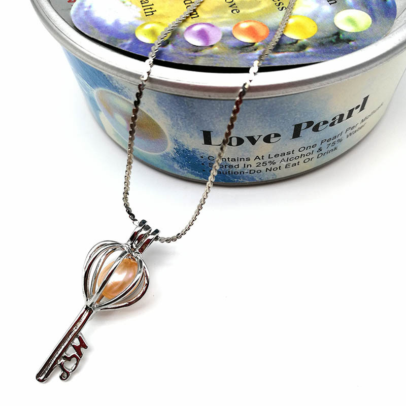 Hongye Wish Pearl Pendant Necklace DIY Cage Holder Natural Freshwater Pearl Customized Jewelry Oyster for Women Christmas Gift