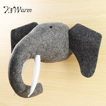 KiWarm Venda Quente 3D Sentiu Cabeça de Animal Cabeça de Elefante Animais Brinquedos Crianças Quarto Parede Enforcamentos Decoração Brinquedos de Pelúcia de Presente de Natal