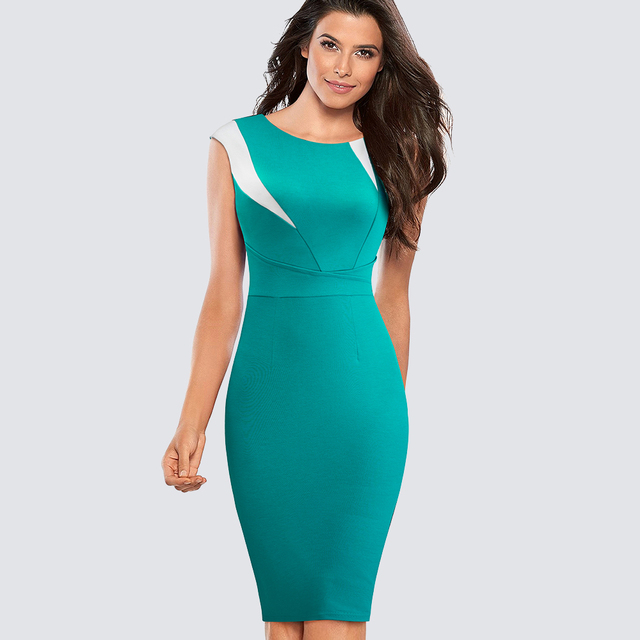 Casual Work Office Business Pencil Lady Dress Summer Elegant Color-block  Patchwork Sheath Slim Bodycon 0654c7a0891a