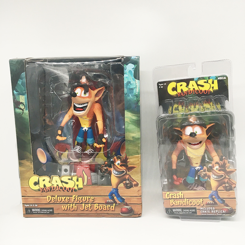 2 Type Original NECA Game Deluxe Crash Bandicoot With Jet Board PVC Action Figure Toy Doll Gift For Kid
