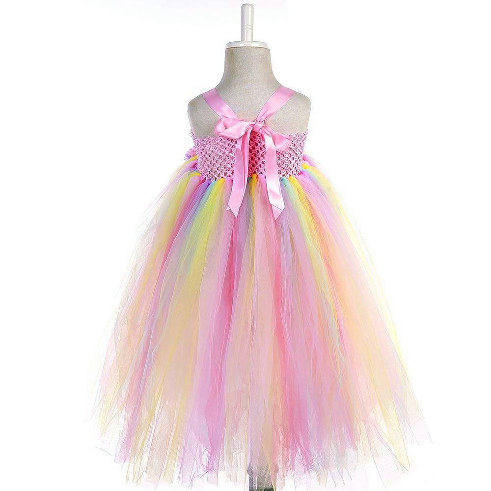 Girl Dresses Kids Long Unicorn Costume for Girls Ankle Length Sleeveless Flower Unicorn Party Dress Tutu Little Pony Ball Gown (12)