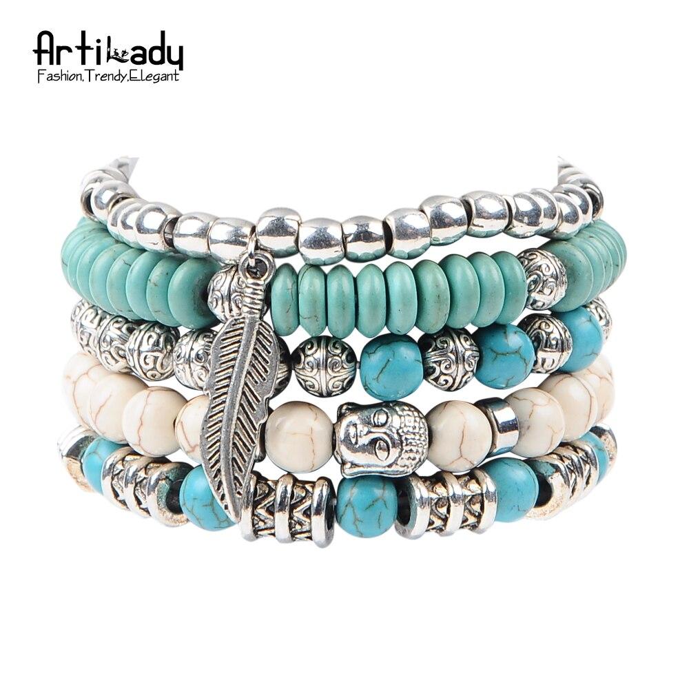 Prix pour Artilady nouveau bouddha perles 5 pcs ensemble bracelets boho pierre bracelet ensemble pour déclaration femmes bijoux parti cadeau