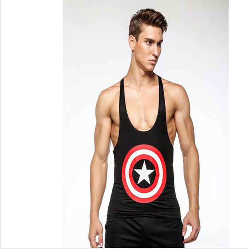 Men s clothing avenger star sheild animation cartoon captain america tank tops male bodybuilding vest sleeveless