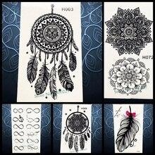 Temporary Tattoo Sticker Black Dreamcatcher Tatoo Waterproof Women Henna Body Arm Art Dream Catcher Tattoo Stickers PH3