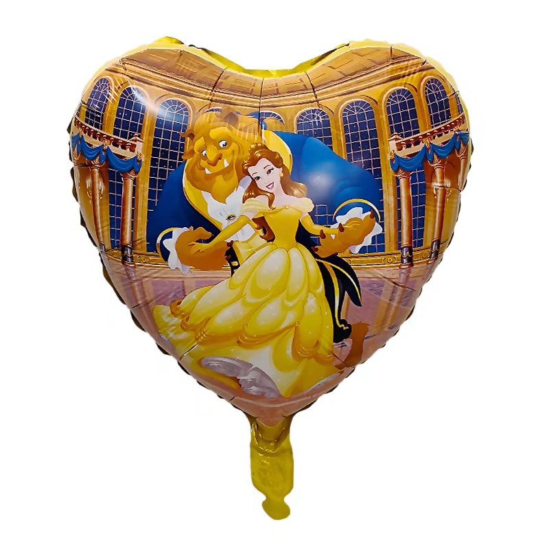 10pcs Cartoon Movie Beauty And The Beast Balloon Princess Bell Heart Foil Balls Birthday Party Supplies Wedding Decoration