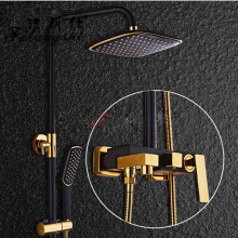 Dofaso Retail Free Shipping Luxury Brass Rainfall Shower Set, Black Color Shower Bar, Wall Mounted black Shower Column high quality black shower sliding bar wall mounted shower bar adjustable sliding rail set 3 function shower minimalist style