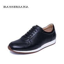 BASSIRIANA 2019 new mens casual sports shoes natural leather spring and autumn Lace-up breathable black size 39-45