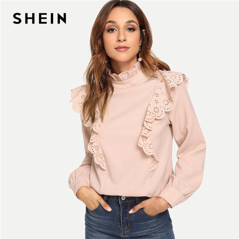 SHEIN Rosa Büro Dame Elegante Scallop Laser Cut Detail Frilled Neck Solid Bluse 2018 Herbst Minimalis Frauen Tops Und Blusen