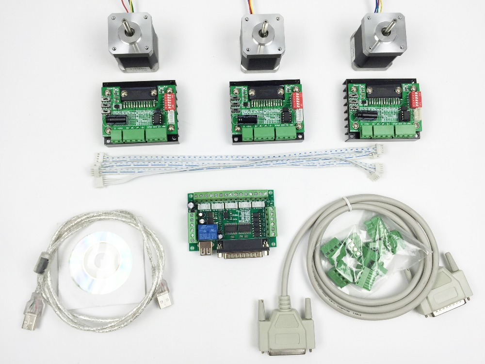 Cnc router mach3 3 axis kit 3pcs tb6560 driver 5 axis for Cnc stepper motor controller