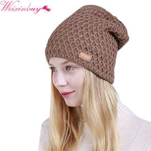 Chapéu de moda Para Homens Mulheres Malha Malha Cap Dobre Cashmere Inverno  Quente Gorros Tampas de Malha Feminina YF1 Elegantes . e06c7ef5776