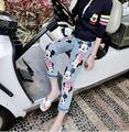 lager size women clothing Free shopping Casual Slim Mickey cartoon printing jeans Multi-pocket button pants / S-XXL