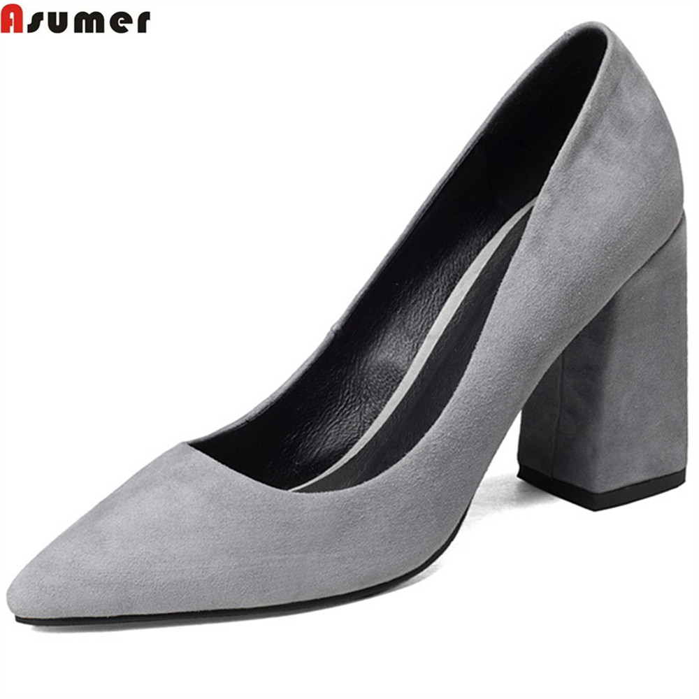 ASUMER black gray fashion spring autumn shoes woman pointed tie square heel shallow dress shoes women kid suede high heels shoes [328] women autumn fashion shoes pu skin shallow low heeled shoes with high heel pointed shoes for ol lss 888