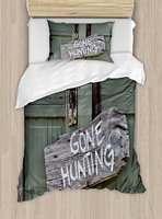 Duvet Cover Set ,Gone Hunting Written on Wooden Board Old Worn Out Cottage Door Seasonal Hobby Fun, 4 Piece Bedding Set