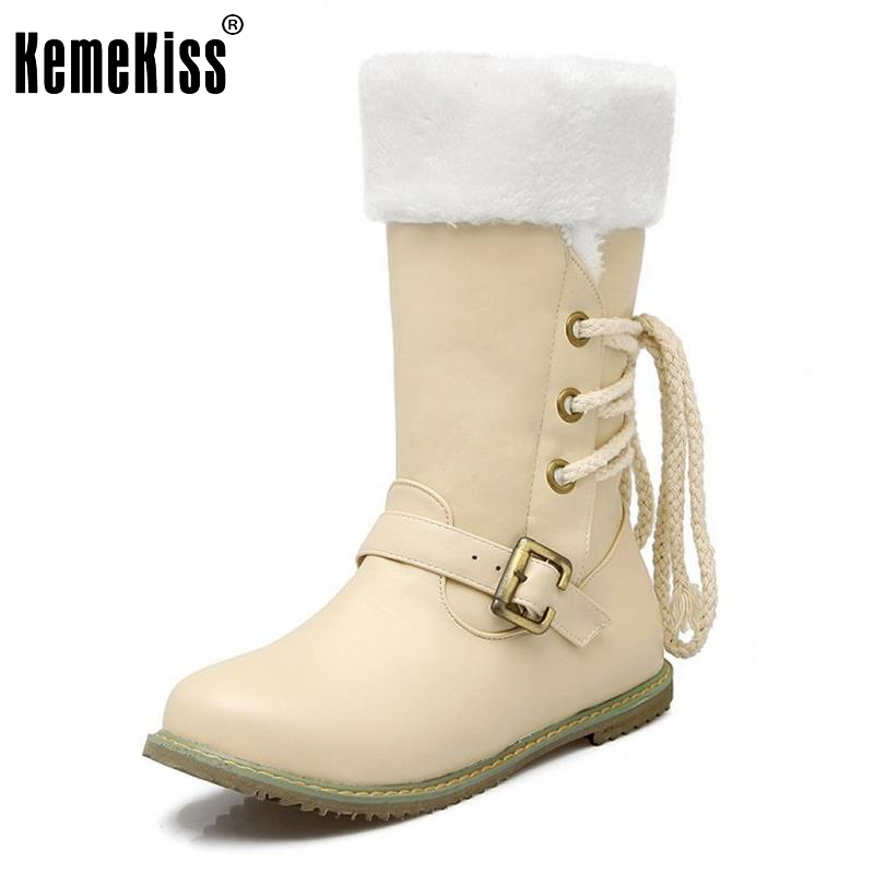 Fashion Women Round Toe Half Short Boots Woman Lace Up Warm Fur Mid Calf Botas Fashion Buckle Footwear Shoes Size 30-52 women warm winter shoes wedges round toe platform lace up mid calf boots fashion square heel botas mujer