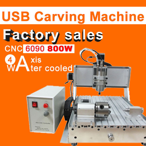 Factory sale CNC 6090 4axis 800w engraving machine usb port water cooling carving machine ball screw cutting machine factory sale cnc 6090 4axis 800w