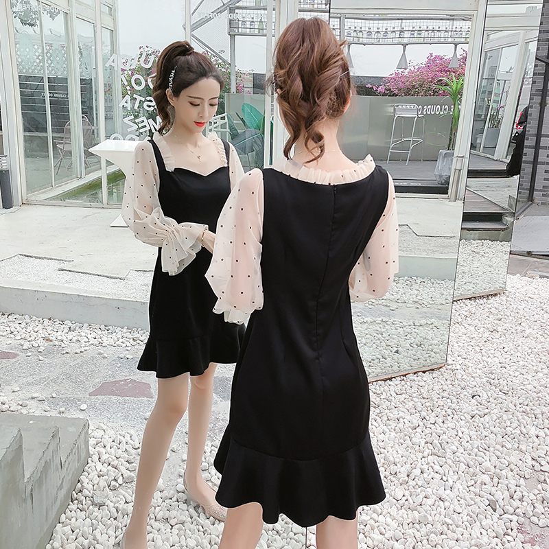 2019 New Spring French Romantic Black Mini Dress Dot Transparent Long Sleeve Mermaid Dress Women Fishtail Sexy Party Vestidos 2