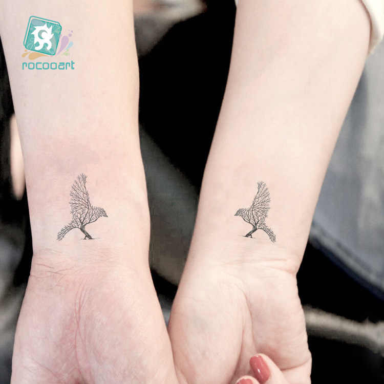 Waterproof Temporary Tattoo sticker tree wolf squirrel deer bird tatto Water Transfer fake  flash tatoo 10.5*6cm for woman man
